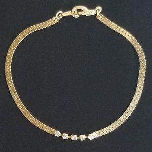 Vintage Korea Rhinestone Chain Bracelet